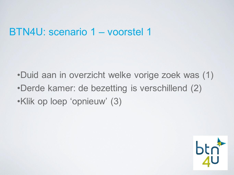 BTN4U: scenario 1 – voorstel 1 Duid aan in overzicht welke vorige zoek was (1) Derde kamer: de bezetting is verschillend (2) Klik op loep 'opnieuw' (3)