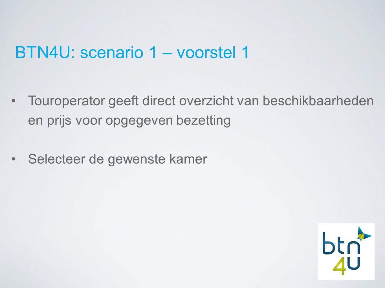 BTN4U: scenario 1 – voorstel 1 Touroperator geeft direct overzicht van beschikbaarheden en prijs voor opgegeven bezetting Selecteer de gewenste kamer