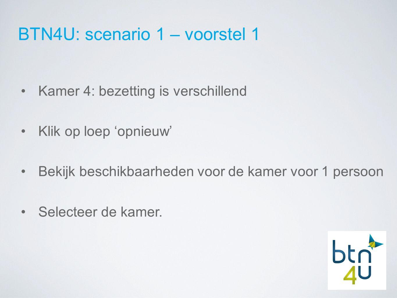 BTN4U: scenario 1 – voorstel 1 Kamer 4: bezetting is verschillend Klik op loep 'opnieuw' Bekijk beschikbaarheden voor de kamer voor 1 persoon Selecteer de kamer.