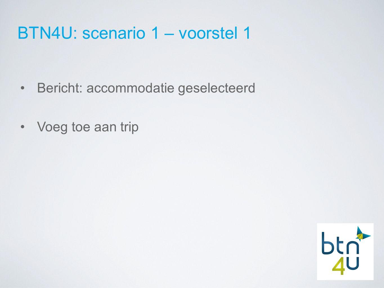 BTN4U: scenario 1 – voorstel 1 Bericht: accommodatie geselecteerd Voeg toe aan trip