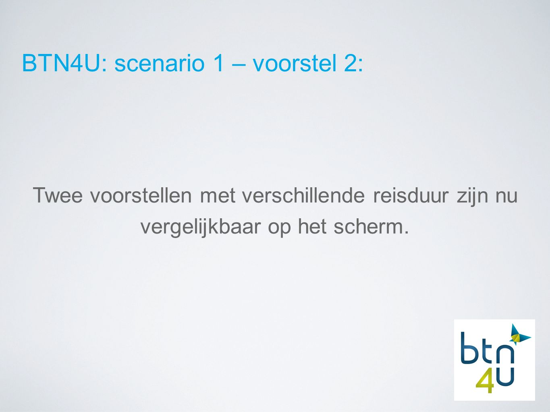 BTN4U: scenario 1 – voorstel 2: Twee voorstellen met verschillende reisduur zijn nu vergelijkbaar op het scherm.