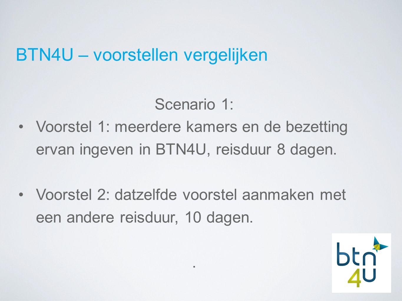 BTN4U – voorstellen vergelijken Scenario 1: Voorstel 1: meerdere kamers en de bezetting ervan ingeven in BTN4U, reisduur 8 dagen.