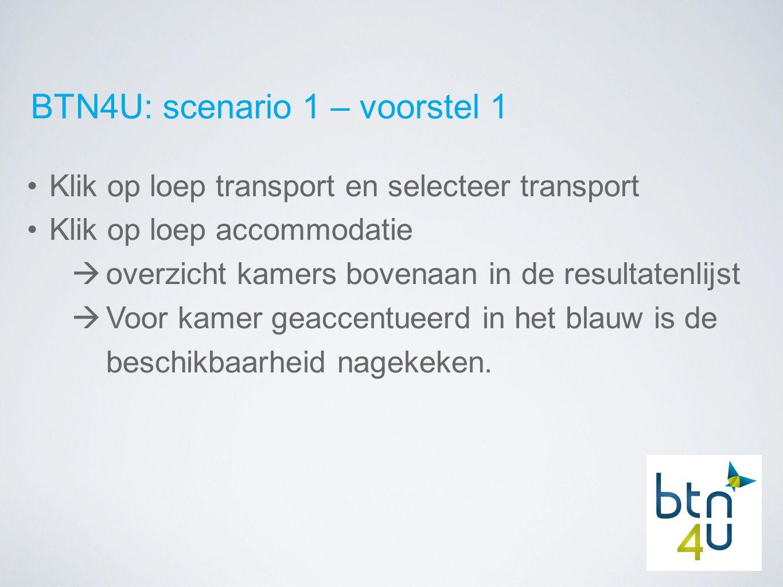 BTN4U: scenario 1 – voorstel 1 Klik op loep transport en selecteer transport Klik op loep accommodatie  overzicht kamers bovenaan in de resultatenlijst  Voor kamer geaccentueerd in het blauw is de beschikbaarheid nagekeken.