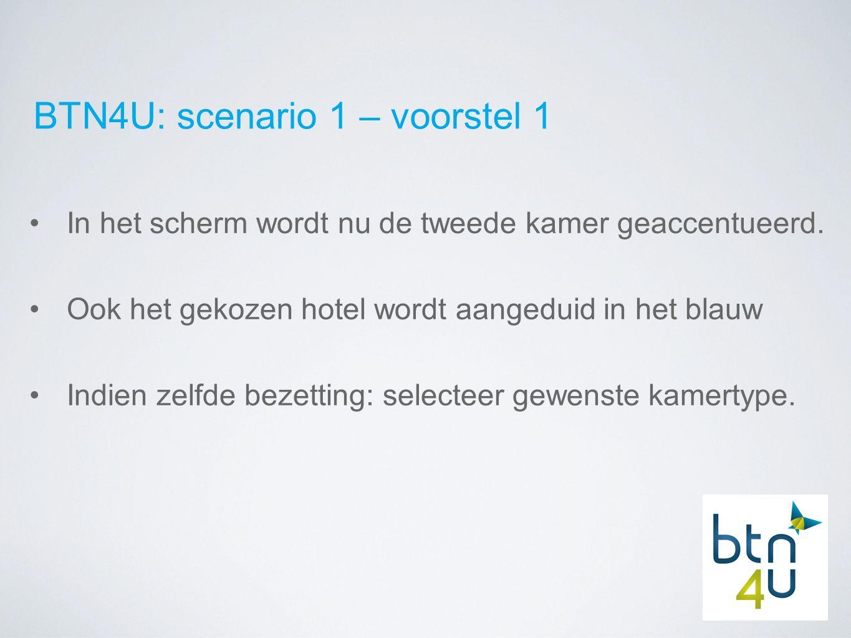 BTN4U: scenario 1 – voorstel 1 In het scherm wordt nu de tweede kamer geaccentueerd.