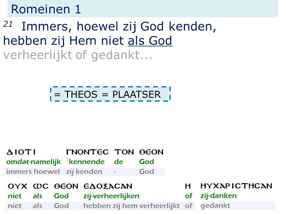 Romeinen 1 21 Immers, hoewel zij God kenden, hebben zij Hem niet als God verheerlijkt of gedankt...