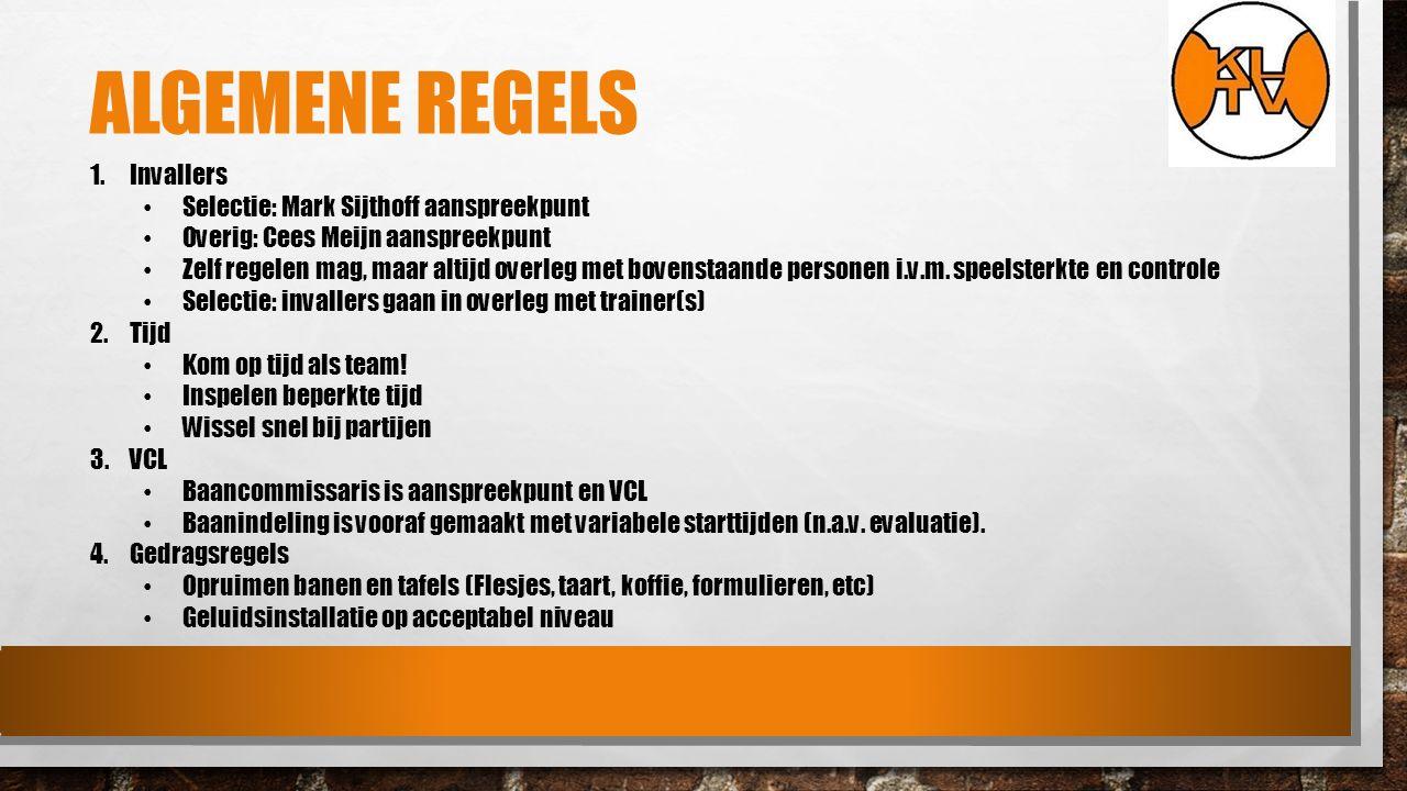 ALGEMENE REGELS 1.Invallers Selectie: Mark Sijthoff aanspreekpunt Overig: Cees Meijn aanspreekpunt Zelf regelen mag, maar altijd overleg met bovenstaande personen i.v.m.