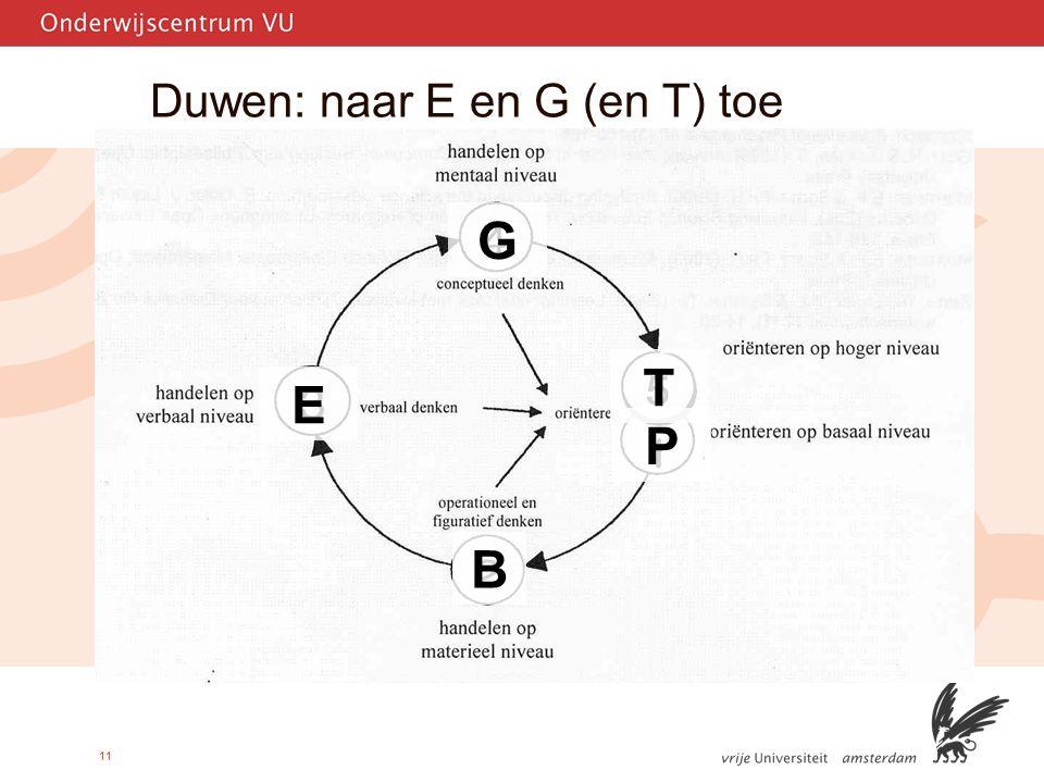 11 Duwen: naar E en G (en T) toe B G T P E