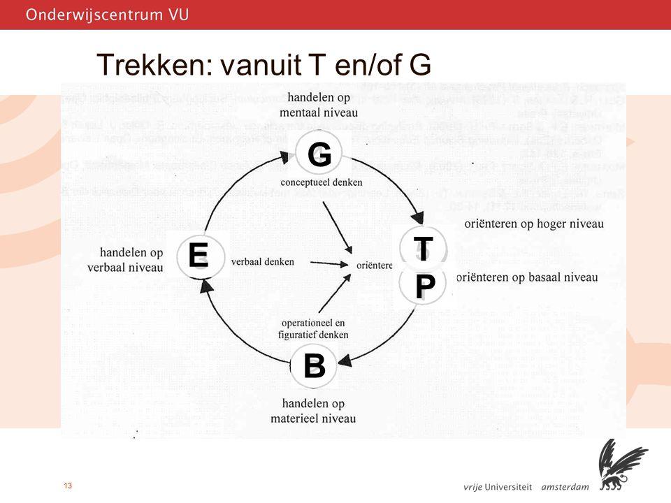 13 Trekken: vanuit T en/of G B G T P E