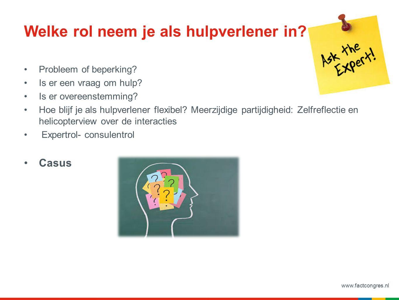 www.factcongres.nl Hulpmiddelen Triadekaart (film triadekaart in 80 sec) Signaleringsplan Psycho- educatie voor verwanten (groep en individueel; Trimbos) Probleemoplossingsmethode Systeemtherapie
