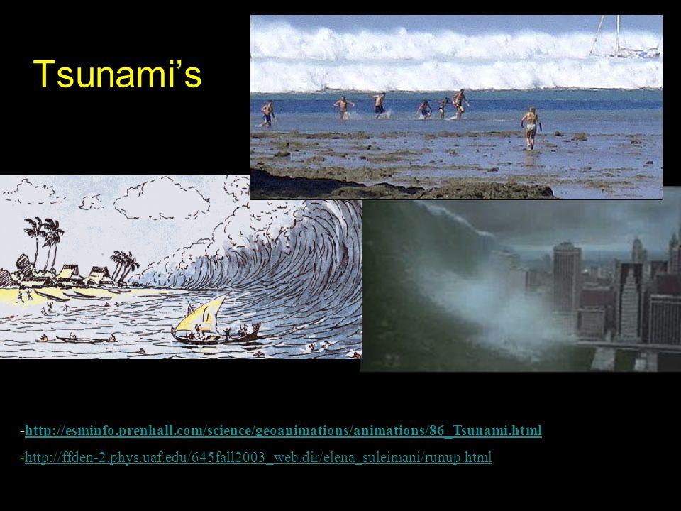 Tsunami's -http://esminfo.prenhall.com/science/geoanimations/animations/86_Tsunami.htmlhttp://esminfo.prenhall.com/science/geoanimations/animations/86_Tsunami.html -http://ffden-2.phys.uaf.edu/645fall2003_web.dir/elena_suleimani/runup.htmlhttp://ffden-2.phys.uaf.edu/645fall2003_web.dir/elena_suleimani/runup.html