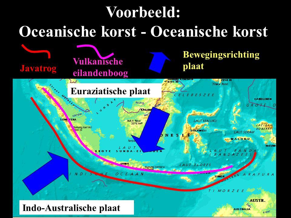 Euraziatische plaat Indo-Australische plaat Javatrog Vulkanische eilandenboog Voorbeeld: Oceanische korst - Oceanische korst Bewegingsrichting plaat