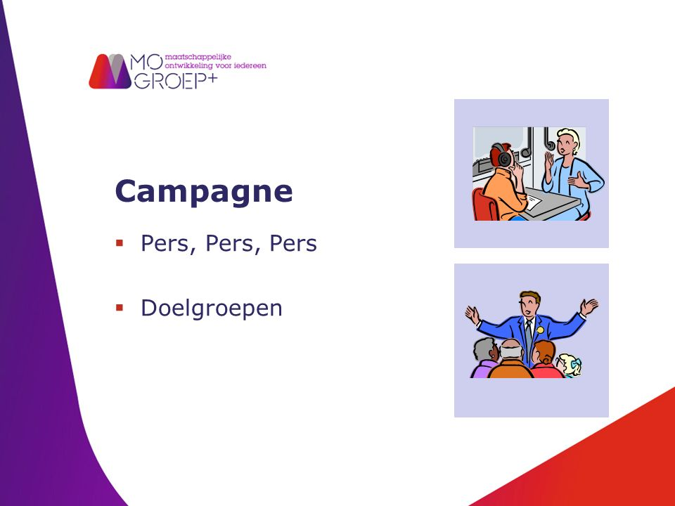 Campagne  Pers, Pers, Pers  Doelgroepen