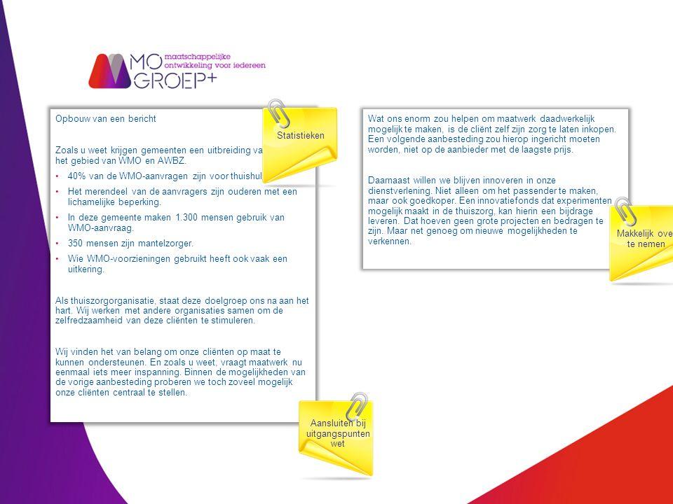 Opbouw van een bericht Zoals u weet krijgen gemeenten een uitbreiding van taken op het gebied van WMO en AWBZ.