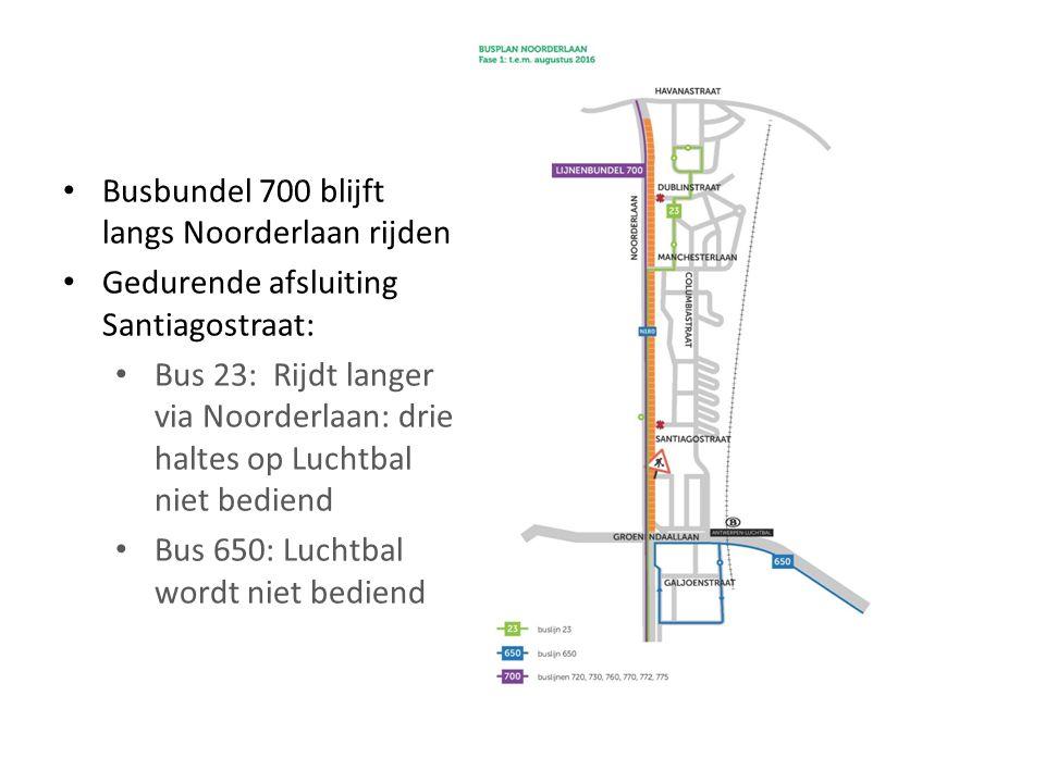 Busbundel 700 blijft langs Noorderlaan rijden Gedurende afsluiting Santiagostraat: Bus 23: Rijdt langer via Noorderlaan: drie haltes op Luchtbal niet