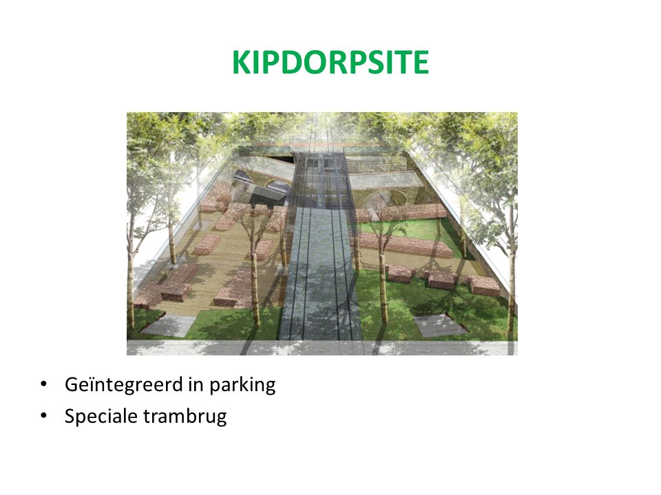 KIPDORPSITE Geïntegreerd in parking Speciale trambrug