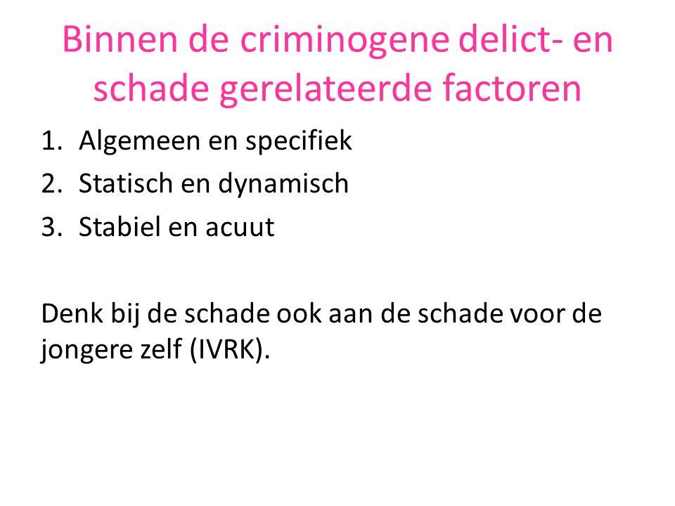 Binnen de criminogene delict- en schade gerelateerde factoren 1.Algemeen en specifiek 2.Statisch en dynamisch 3.Stabiel en acuut Denk bij de schade ook aan de schade voor de jongere zelf (IVRK).