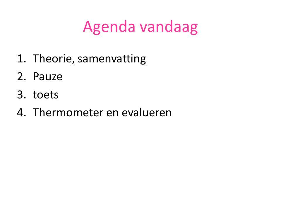 Agenda vandaag 1.Theorie, samenvatting 2.Pauze 3.toets 4.Thermometer en evalueren