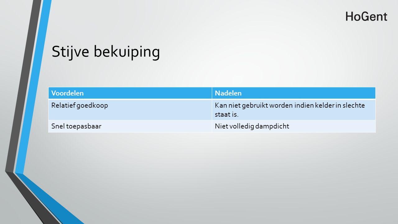 Stijve bekuiping VoordelenNadelen Relatief goedkoopKan niet gebruikt worden indien kelder in slechte staat is.