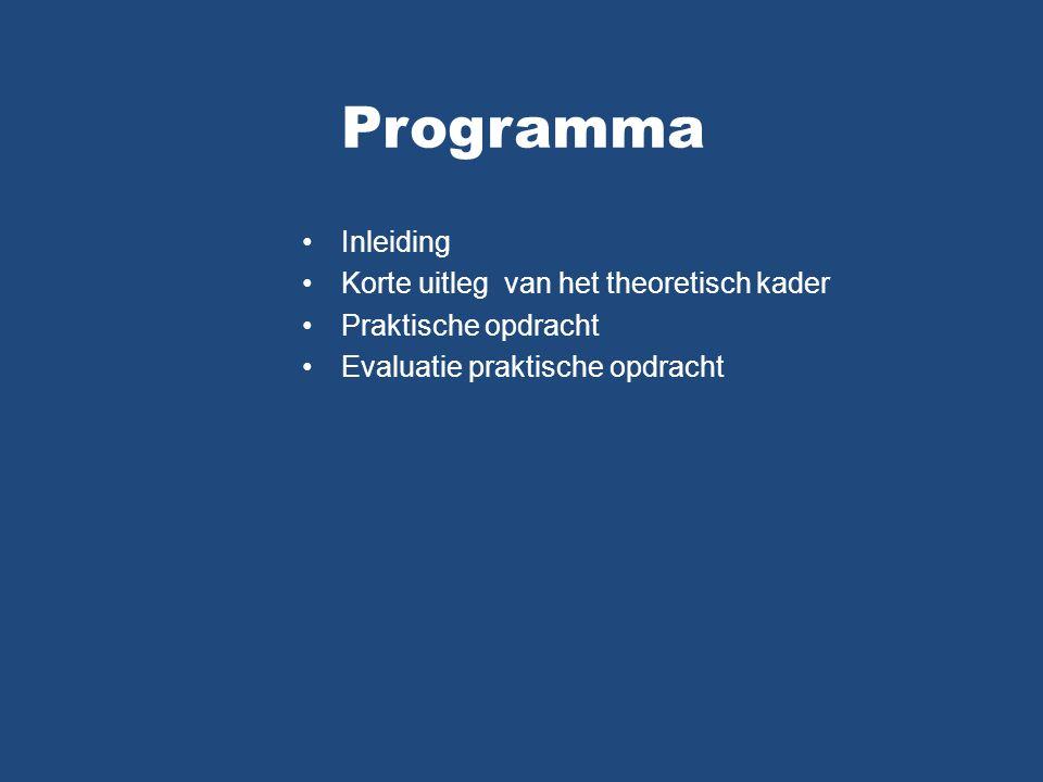 Programma Inleiding Korte uitleg van het theoretisch kader Praktische opdracht Evaluatie praktische opdracht
