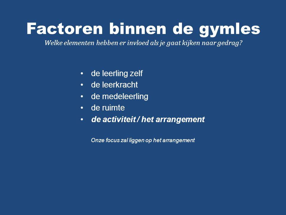 Factoren binnen de gymles Welke elementen hebben er invloed als je gaat kijken naar gedrag.