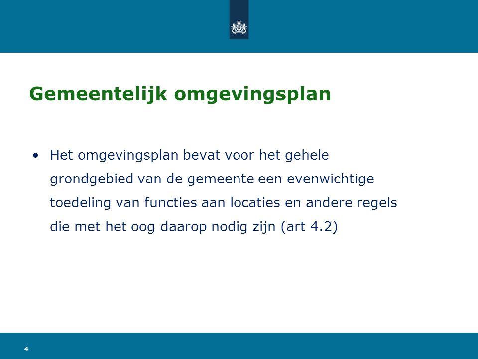 Rechtskarakter omgevingsplan Eén omgevingsplan per gemeente Regel, werkingsgebied en waarde Appellabel (zoals een concretiserend BAS) Verbeelding op elektronische wijze Fysieke leefomgeving (incl.