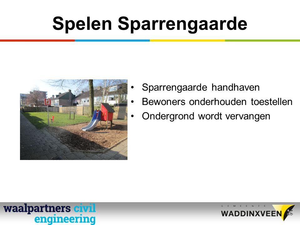 Spelen Sparrengaarde Sparrengaarde handhaven Bewoners onderhouden toestellen Ondergrond wordt vervangen