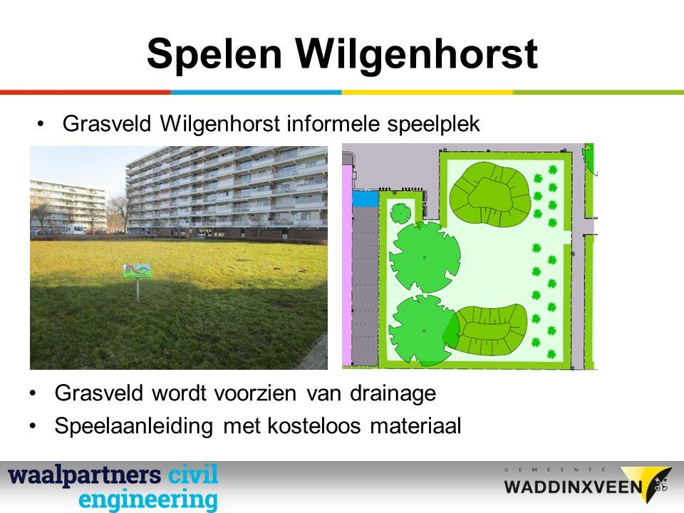 Spelen Wilgenhorst Grasveld Wilgenhorst informele speelplek Grasveld wordt voorzien van drainage Speelaanleiding met kosteloos materiaal