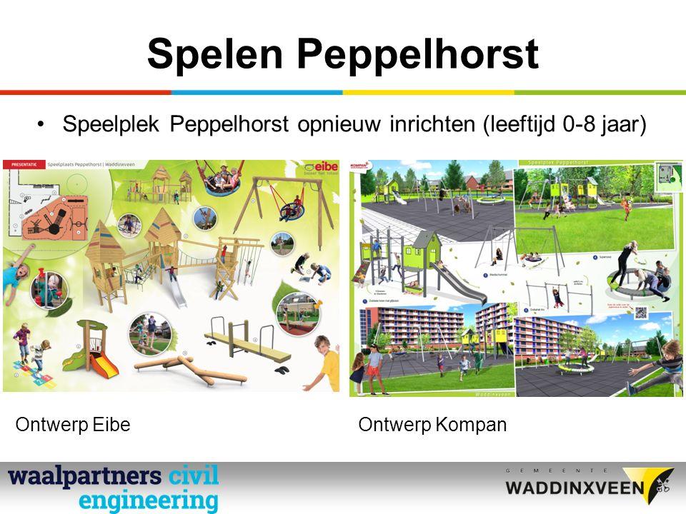 Spelen Peppelhorst Speelplek Peppelhorst opnieuw inrichten (leeftijd 0-8 jaar) Ontwerp EibeOntwerp Kompan