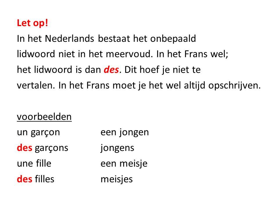 Let op. In het Nederlands bestaat het onbepaald lidwoord niet in het meervoud.