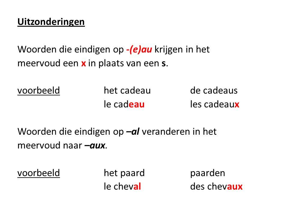 Uitzonderingen Woorden die eindigen op -(e)au krijgen in het meervoud een x in plaats van een s.