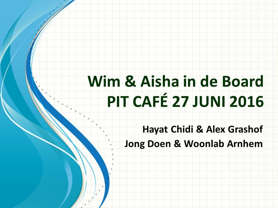 Wim & Aisha in de Board PIT CAFÉ 27 JUNI 2016 Hayat Chidi & Alex Grashof Jong Doen & Woonlab Arnhem