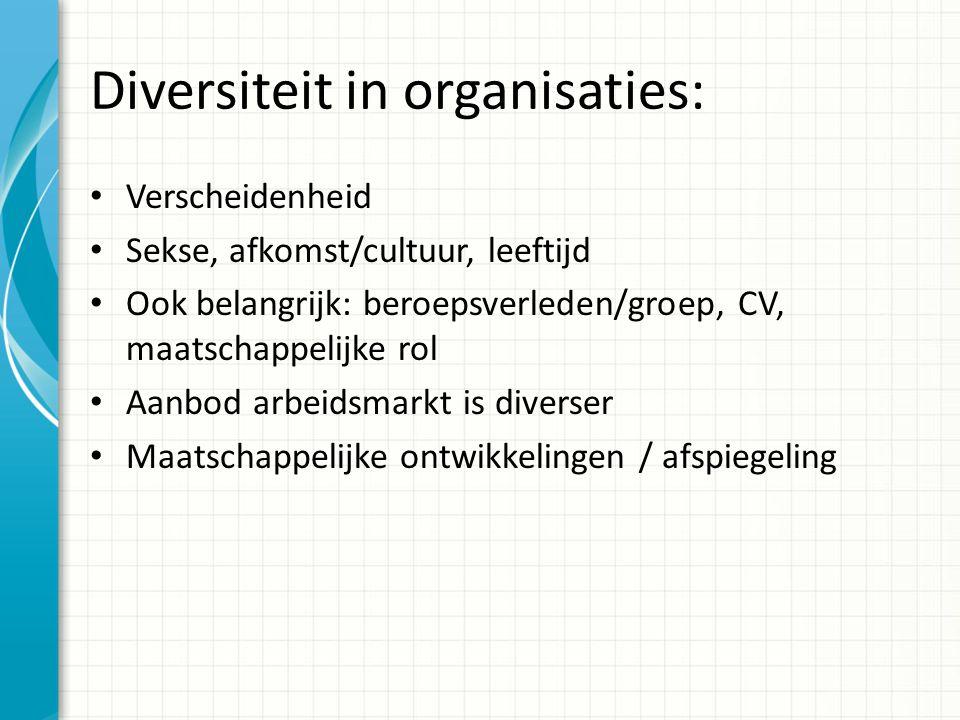 Diversiteit in organisaties: Verscheidenheid Sekse, afkomst/cultuur, leeftijd Ook belangrijk: beroepsverleden/groep, CV, maatschappelijke rol Aanbod arbeidsmarkt is diverser Maatschappelijke ontwikkelingen / afspiegeling