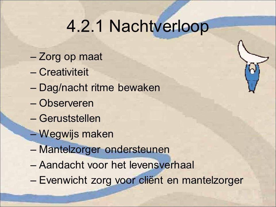 4.2.1 Nachtverloop –Zorg op maat –Creativiteit –Dag/nacht ritme bewaken –Observeren –Geruststellen –Wegwijs maken –Mantelzorger ondersteunen –Aandacht