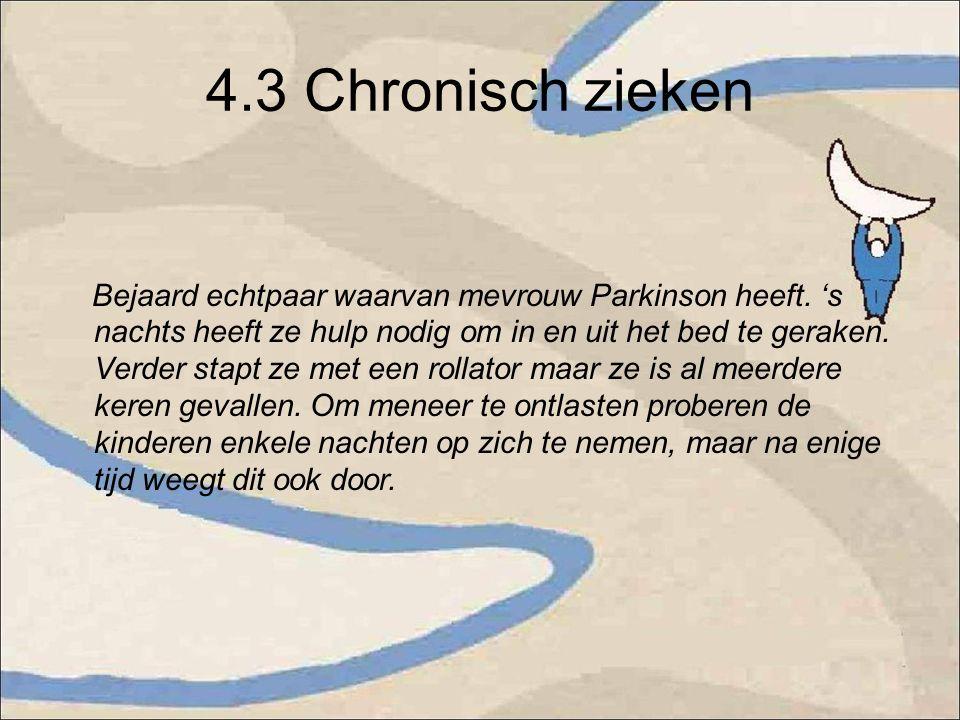 4.3 Chronisch zieken Bejaard echtpaar waarvan mevrouw Parkinson heeft.