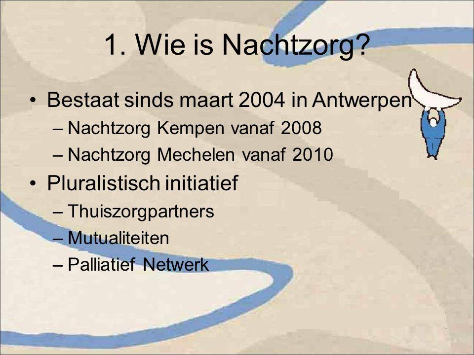 1. Wie is Nachtzorg? Bestaat sinds maart 2004 in Antwerpen –Nachtzorg Kempen vanaf 2008 –Nachtzorg Mechelen vanaf 2010 Pluralistisch initiatief –Thuis