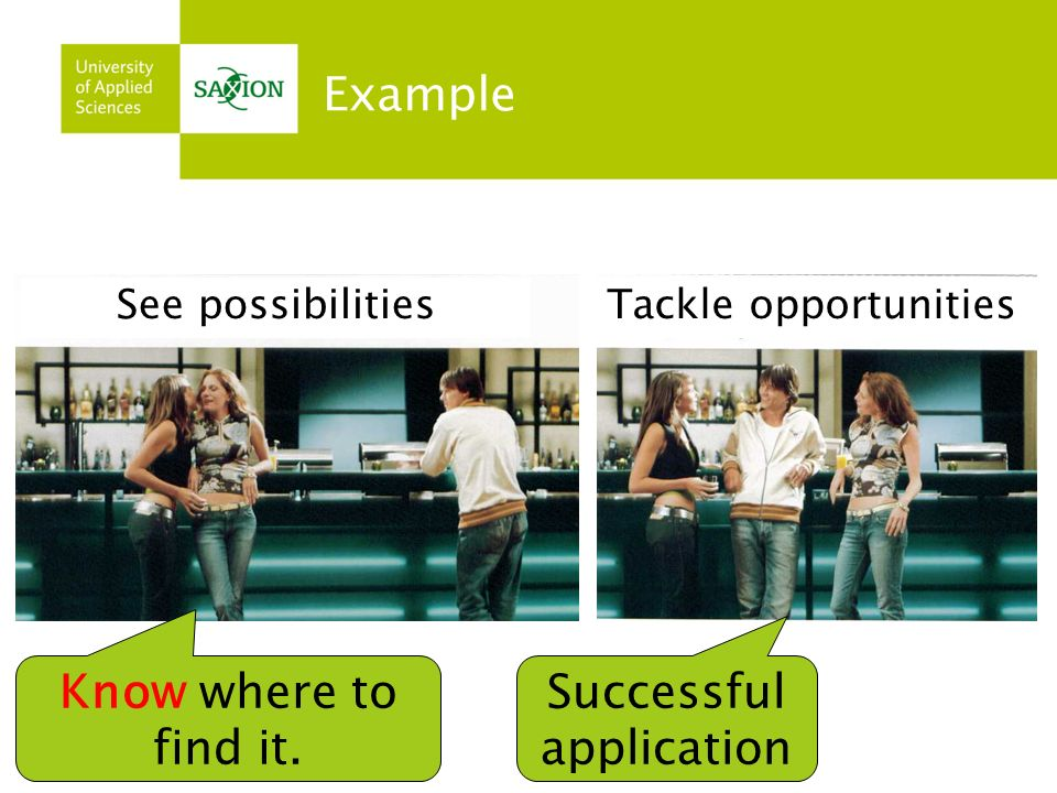 Example See possibilitiesTackle opportunities Know where to find it. Successful application