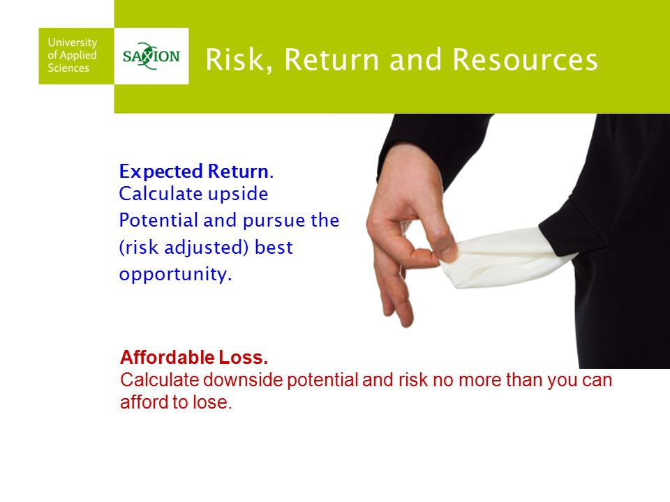 Affordable Loss. Calculate downside potential and risk no more than you can afford to lose.