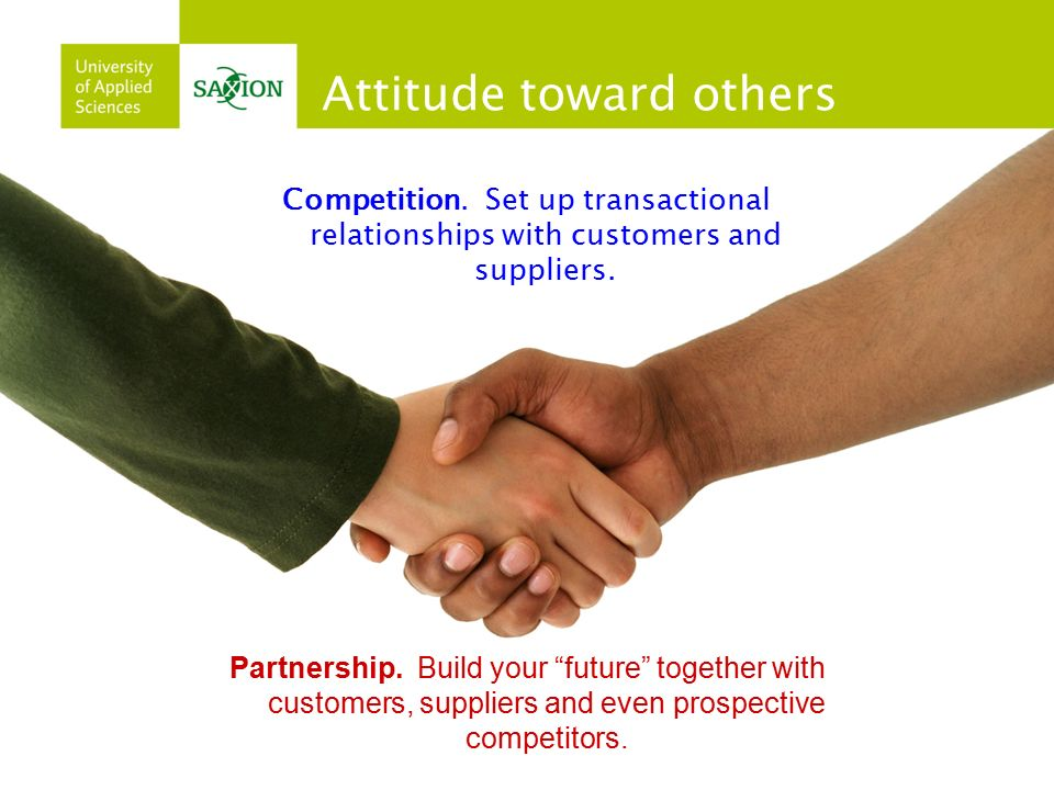 "Partnership. Build your ""future"" together with customers, suppliers and even prospective competitors. Attitude toward others Competition. Set up trans"