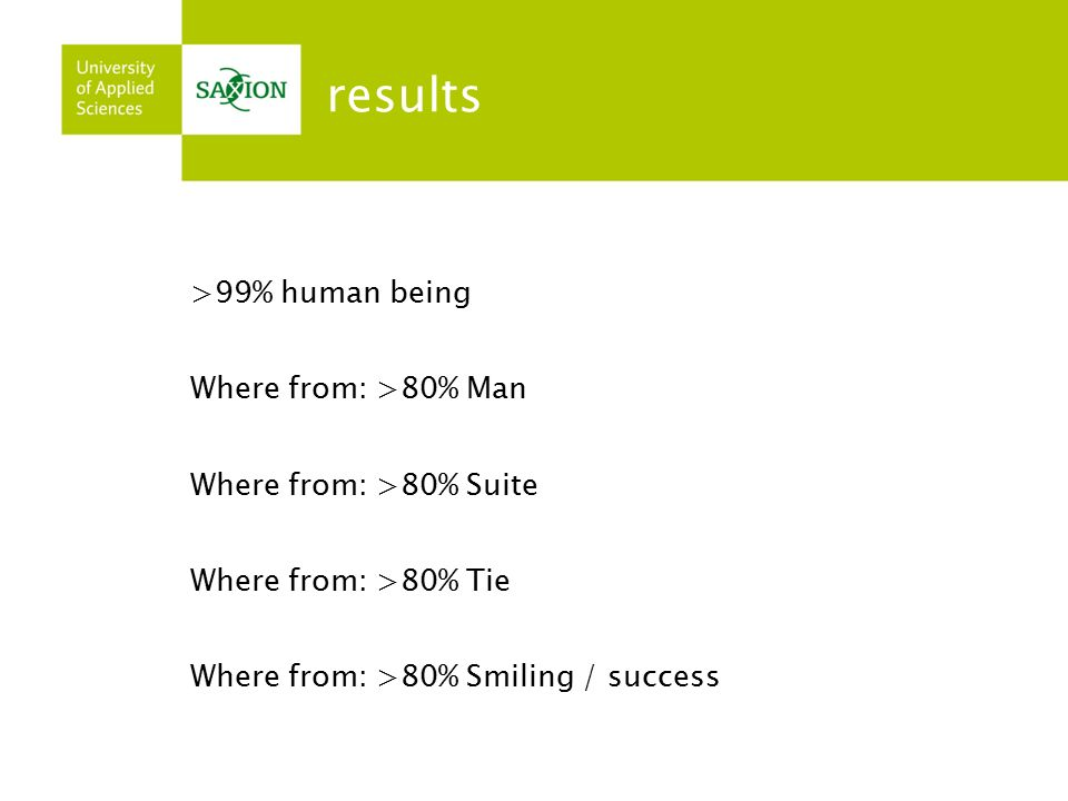 results >99% human being Where from: >80% Man Where from: >80% Suite Where from: >80% Tie Where from: >80% Smiling / success