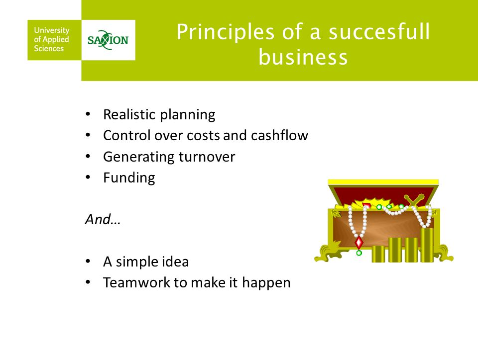 Principles of a succesfull business Realistic planning Control over costs and cashflow Generating turnover Funding And… A simple idea Teamwork to make it happen