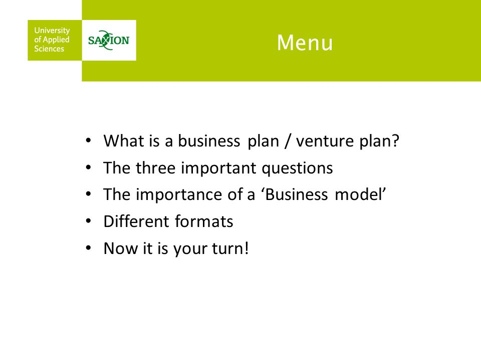 Characteristics of an effective venture plan Twelve features of an effective venture plan: 1.Demonstrates a clear opportunity which has not yet been exploited 2.Displays strong customer attraction and differentiation from competitors 3.Shows significant, quantified growth potential in identified markets 4.Demonstrates a credible strategy and plan to exploit the opportunity 5.Deploys innovation which can be shown to work effectively 6.Has unique aspects which can be prevented from copying (control of IPR [Intellectual Property Rights]) 7.Success factors with risks identified and minimised 8.Investment required is shown with realistic return on investment 9.Timescale to breakeven and anticipated profit stream are realistic 10.Financial planning is accurately costed and realistic 11.Potential exit routes and timescales for investors are shown 12.The venture team demonstrate capability and motivation