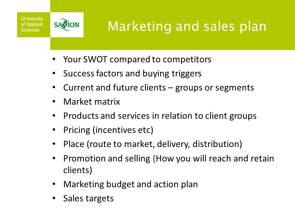 Marketing and sales plan Your SWOT compared to competitors Success factors and buying triggers Current and future clients – groups or segments Market matrix Products and services in relation to client groups Pricing (incentives etc) Place (route to market, delivery, distribution) Promotion and selling (How you will reach and retain clients) Marketing budget and action plan Sales targets