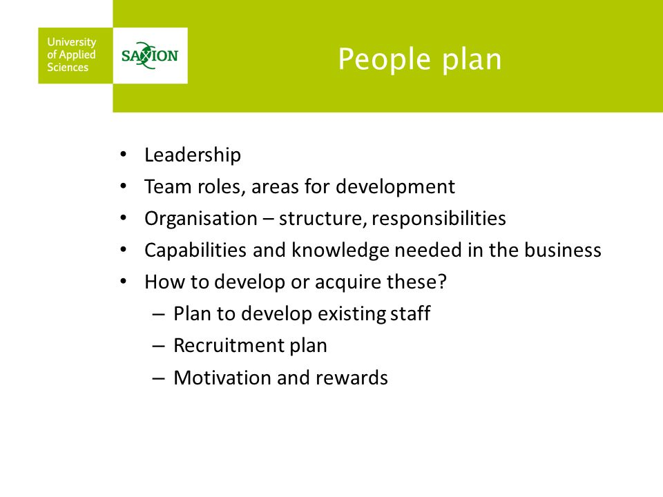 People plan Leadership Team roles, areas for development Organisation – structure, responsibilities Capabilities and knowledge needed in the business How to develop or acquire these.