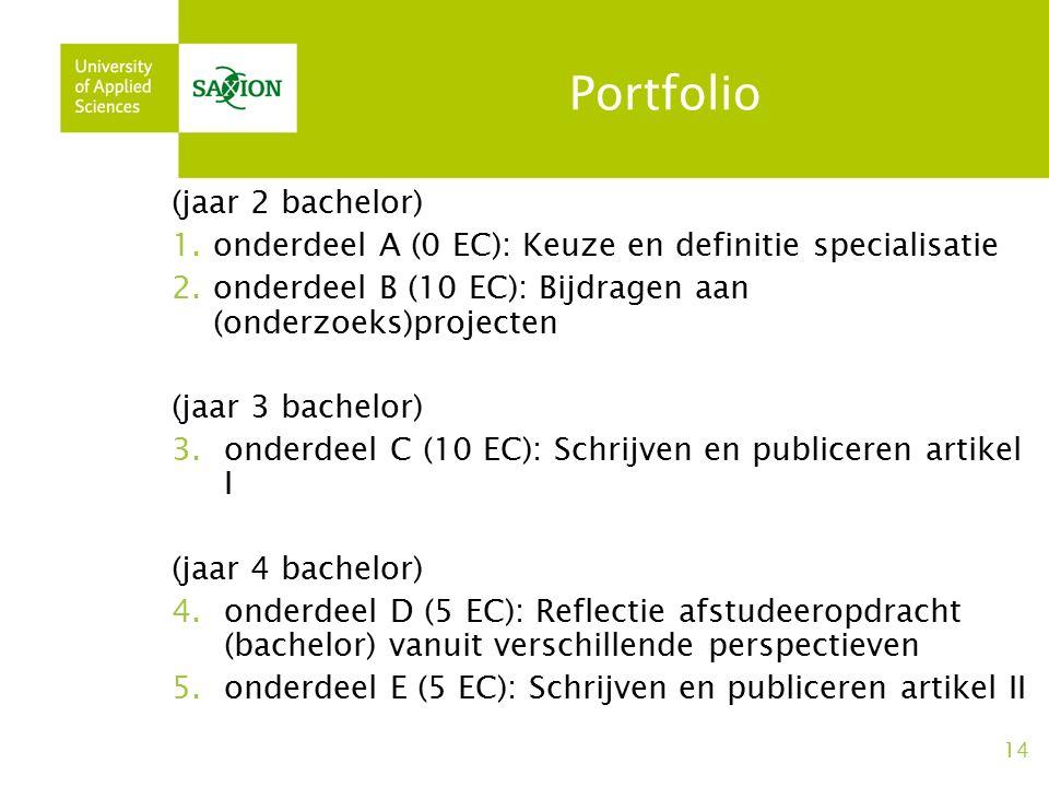 Portfolio (jaar 2 bachelor) 1.onderdeel A (0 EC): Keuze en definitie specialisatie 2.onderdeel B (10 EC): Bijdragen aan (onderzoeks)projecten (jaar 3