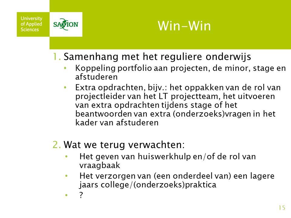 Win-Win 1.Samenhang met het reguliere onderwijs Koppeling portfolio aan projecten, de minor, stage en afstuderen Extra opdrachten, bijv.: het oppakken