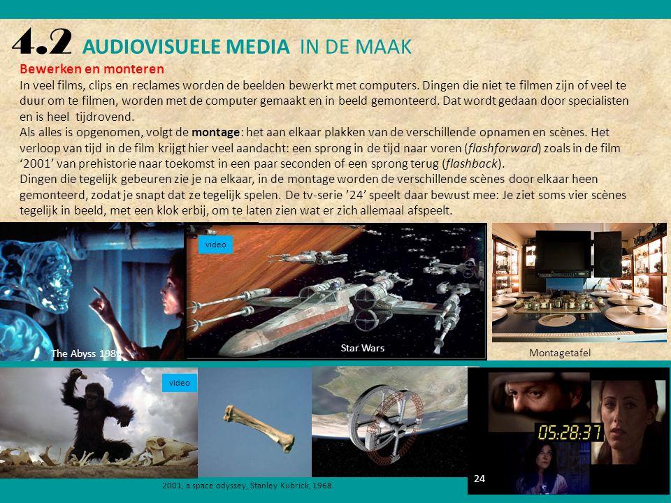 4.2 AUDIOVISUELE MEDIA IN DE MAAK Bewerken en monteren In veel films, clips en reclames worden de beelden bewerkt met computers.