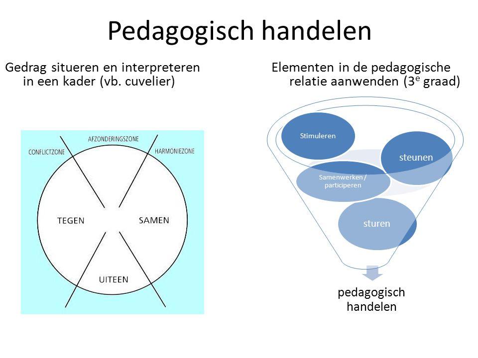 Pedagogisch handelen Gedrag situeren en interpreteren in een kader (vb. cuvelier) Elementen in de pedagogische relatie aanwenden (3 e graad) pedagogis