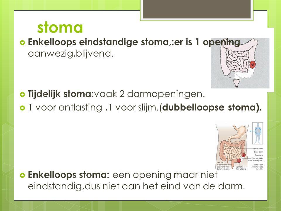 stoma  Enkelloops eindstandige stoma,:er is 1 opening aanwezig,blijvend.