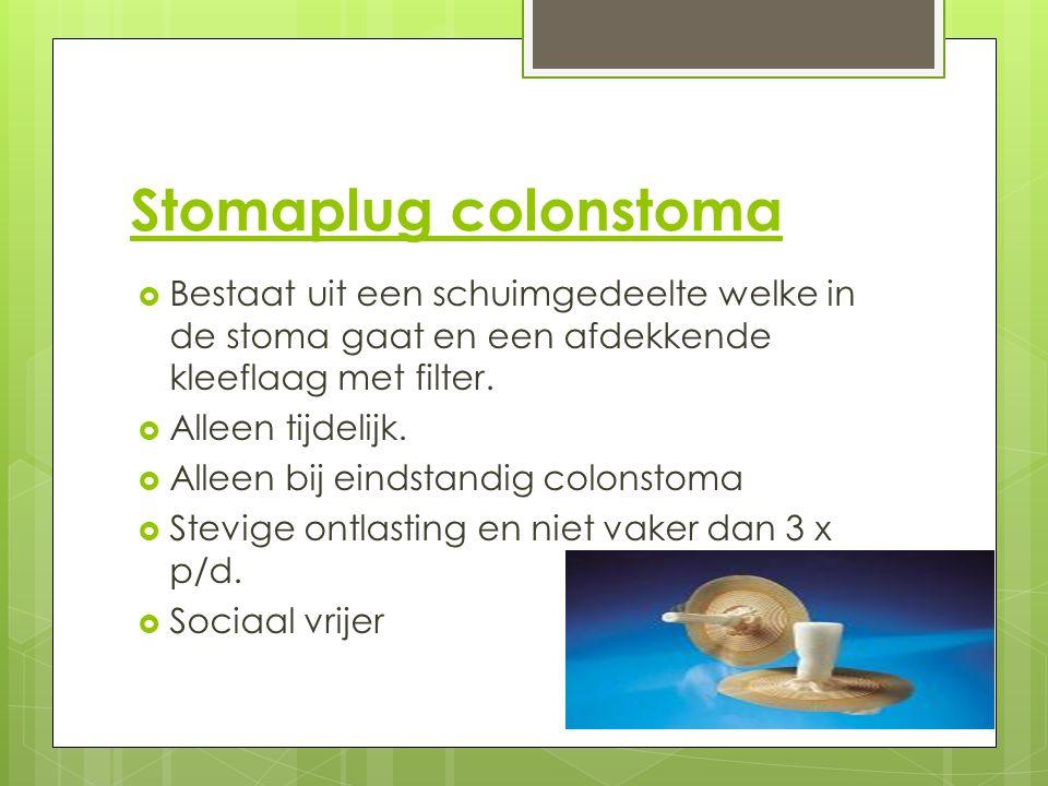 Stomaplug colonstoma  Bestaat uit een schuimgedeelte welke in de stoma gaat en een afdekkende kleeflaag met filter.