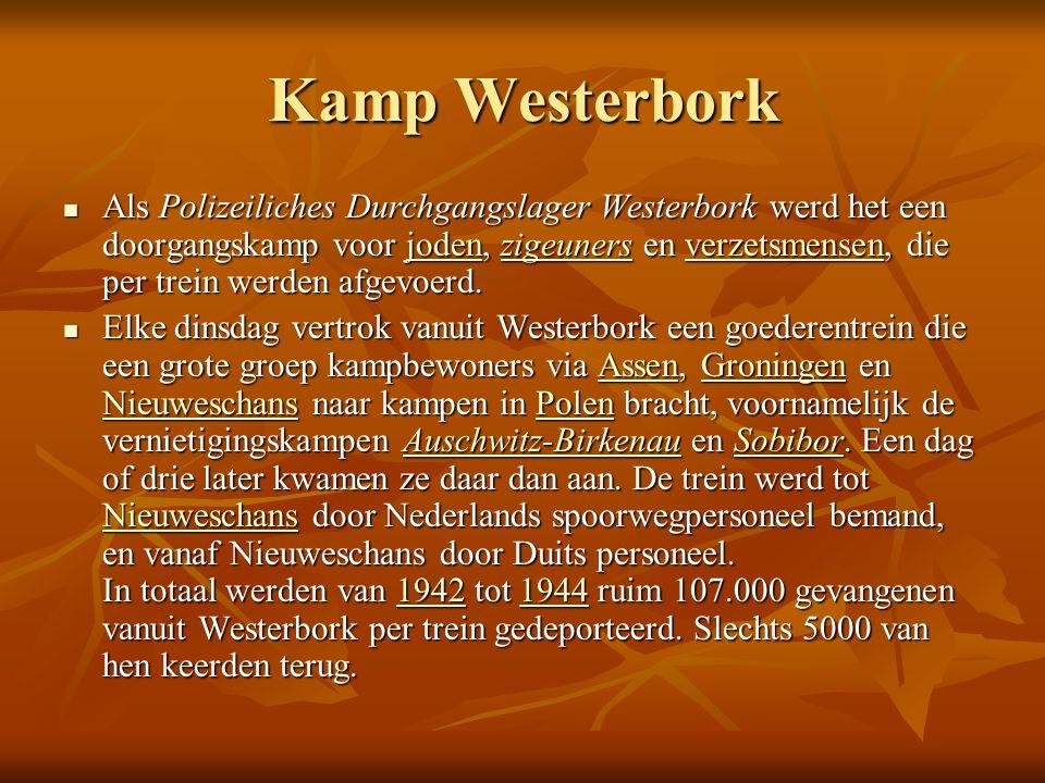Kamp Westerbork Als Polizeiliches Durchgangslager Westerbork werd het een doorgangskamp voor joden, zigeuners en verzetsmensen, die per trein werden afgevoerd.